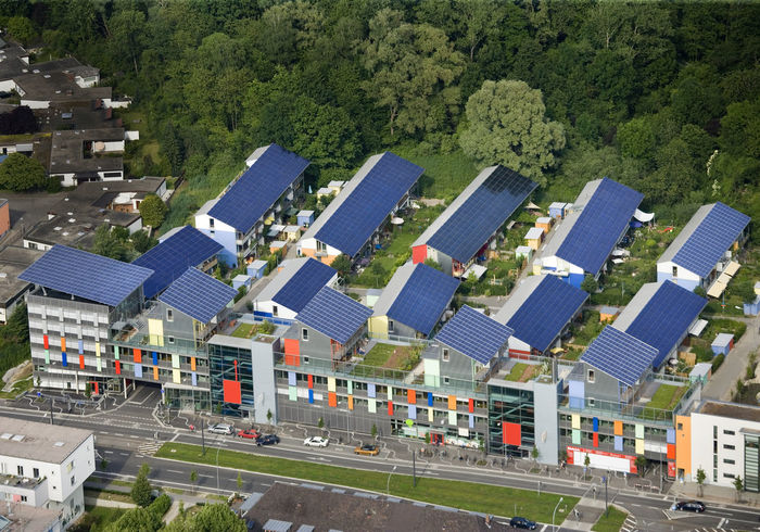 Aerial sot of Solar village City City Life City Street Day Elevated View Green Color No People Outdoors Residential District Road