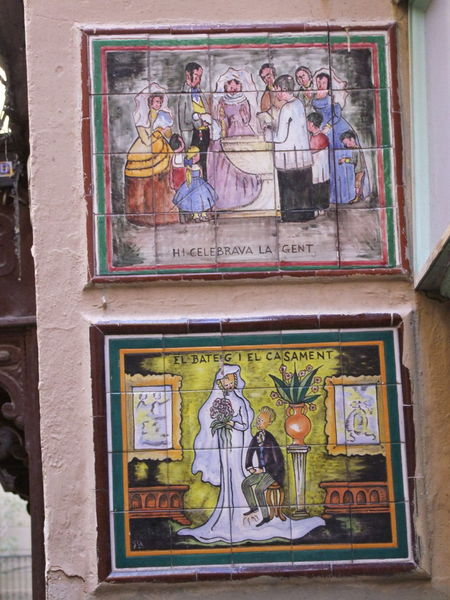 Two tile pictures Barcelona City City Street Close Up Colourful Composition Creative Full Frame Historic History Human Representations Information No People Outdoor Photography Painted Image Scriptorius Signage Spaın Tile Tile Pictures Tourism Tourist Attraction  Tourist Destination