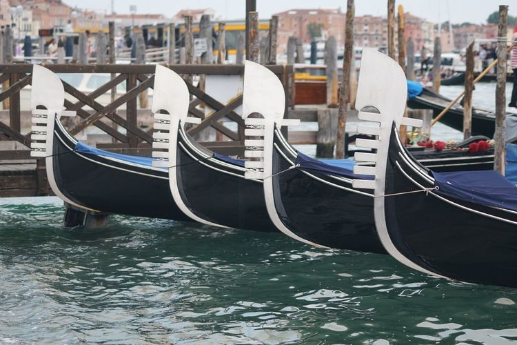 Gondolas moored on grand canal