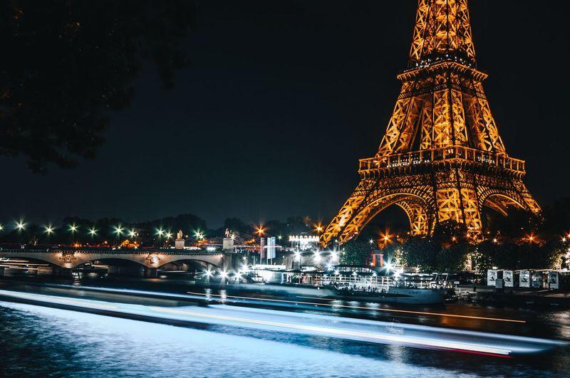 Blue seine Nikonphotography Nikon Longexposurephotography Eiffel Tower Illuminated Night Architecture Built Structure Building Exterior Tree Winter Sky Decoration City Celebration No People Building Travel Destinations Outdoors Cold Temperature