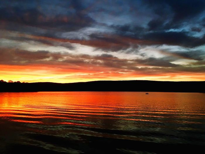 Sunset Scenics Water Tranquil Scene Orange Color Orange Sky Orange Dramatic Sky Lake Reflection Cloud - Sky Clouds And Sky Amazing View Colorful
