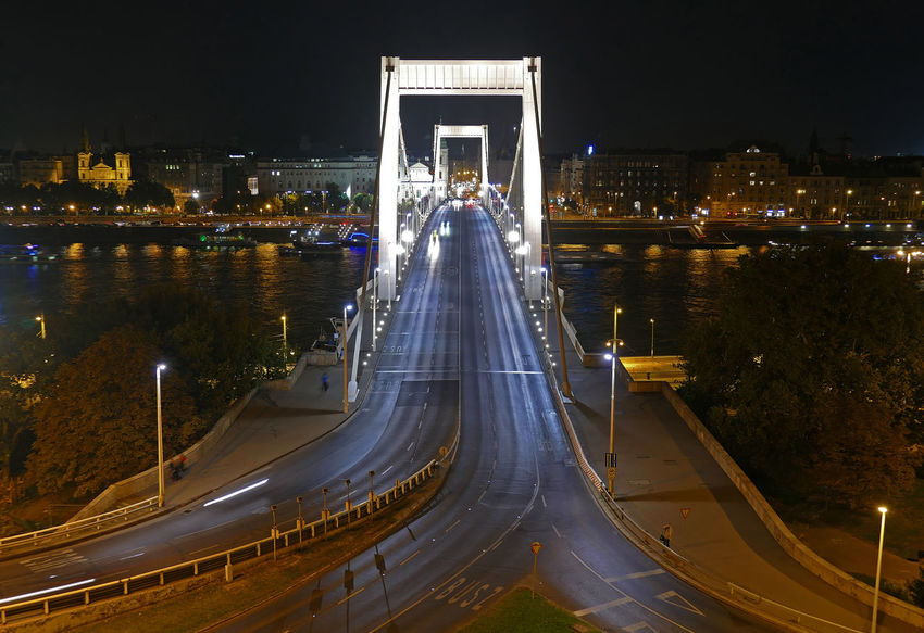 The Elisabeth Bridge over the Danube, at night in Budapest, Hungary Budapest Downtown Elisabeth Bridge Erzsébet Híd Hungary Architecture Bridge Bridge - Man Made Structure Built Structure City Cityscape Connection Illuminated Modern Night Outdoors Road Tourism Transportation Travel Travel Destinations Water