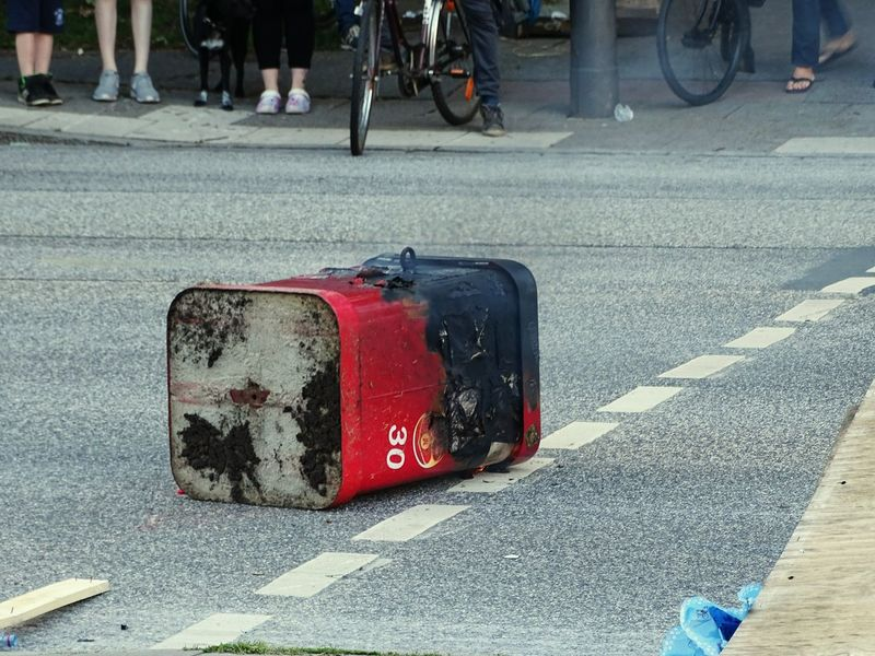 Burning Refuse Tin Street Road City Burning Plastic Arson  G20 Summit G20 Gipfel Welcome To Hell Demo Hamburg City A Burning Rubbish Bin On The Street