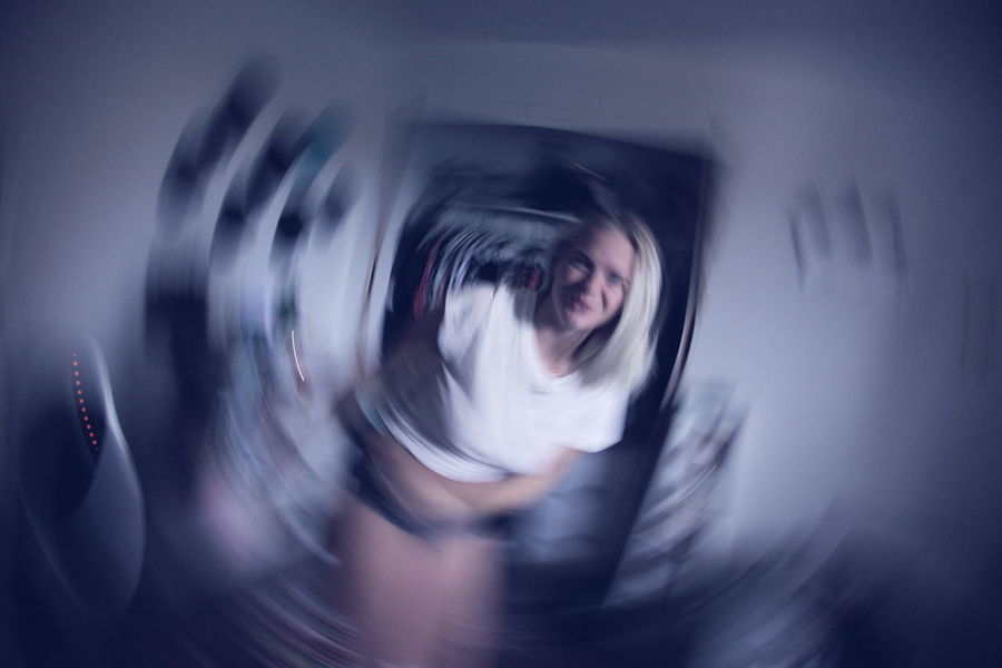 Blurred Motion Motion One Person Adult Portrait Young Adult Indoors  Technology Spinning Abstract Emotion Clothing Human Face Woman Blue Bedroom Time