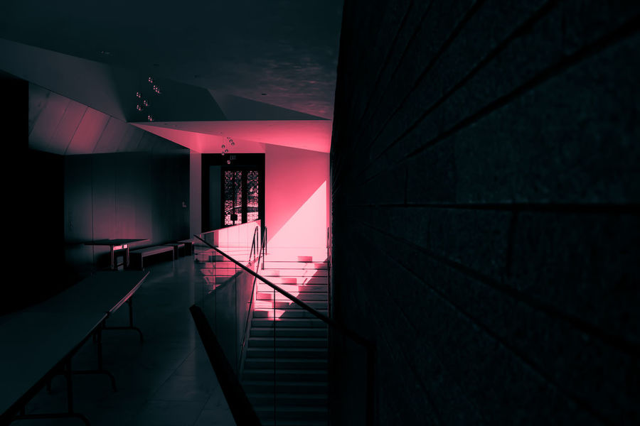 Lakewood Minneapolis Architecture Built Structure Illuminated Indoors  Light And Shadow Modern Neon Noir No People Steps And Staircases
