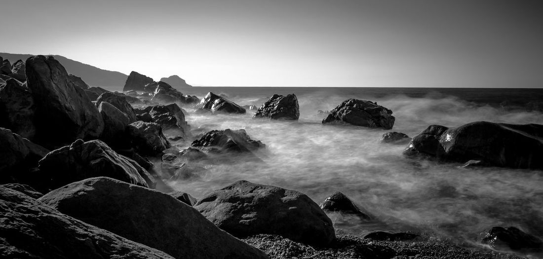 Blackandwhite Photography Blackandwhite Sicily Sea Rock - Object Nature Beauty In Nature Scenics Water Clear Sky Horizon Over Water Beach Long Exposure Sky Wave No People Landscape Day Outdoors