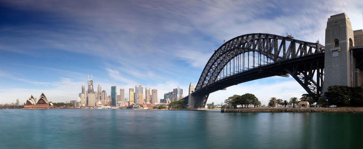 Sydney New South Wales  Harbour Bridge Water Bridge City Sky Connection Bridge - Man Made Structure Cloud - Sky Travel Destinations Waterfront Transportation Tourism Arch Bridge Cityscape Long Exposure Panorama