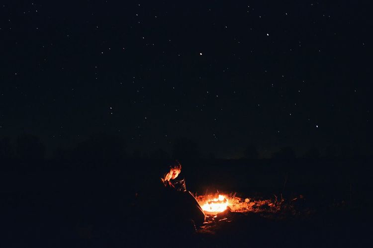The Great Outdoors - 2017 EyeEm Awards Night Outdoors Nature Beauty In Nature Astronomy Sky Romantic Night Romantic Sky Couplegoals Bonfire Stars Flame Love Sommergefühle Mix Yourself A Good Time