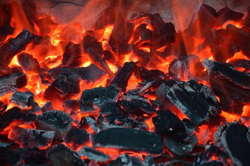 Full Frame Shot Of Burning Coal