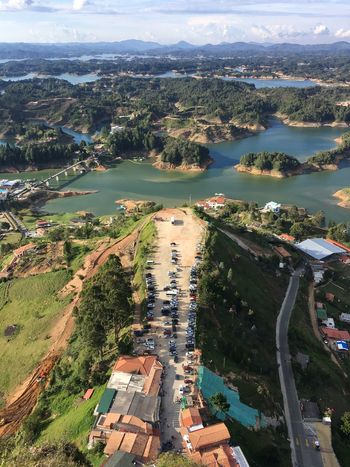 Guatape Colombia Antioquia Dam Lake View Lake Majestic Beautiful View Famous Place Tourism Travel Destinations Scenics Landscapes Landscape Beauty In Nature Natural Beauty Water Peñón De Guatape A Bird's Eye View