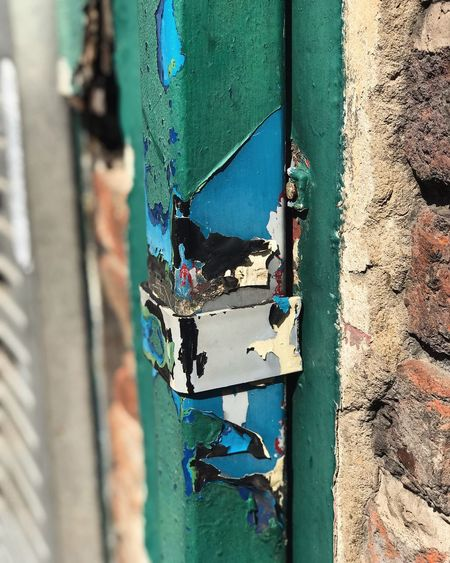 Paint Chips. Manchester. Brick Wall Brickwall Gutter Paint Painted Retro Architecture Blue Brick Brick Building Bricks Building Exterior Built Structure Close Close Up Close-up Day Door Hinge Multi Colored No People Outdoors Paint Painting Vintage