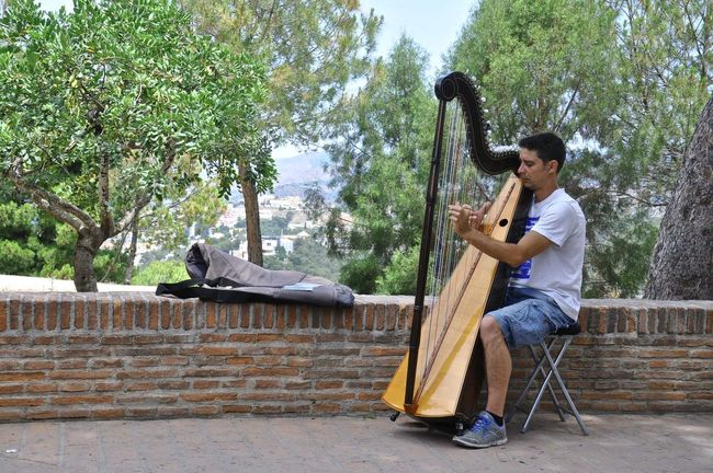 Arpa Castillo De Gibralfaro España🇪🇸 Gibralfaro Castle Málaga,España Arpa Full Length Harp Music Musical Instrument Musician Musico Playing Real People Go Higher