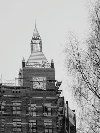 Clock Tower City Black & White
