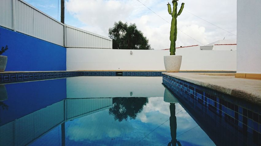 Swimming Pool Water Reflection Cloud - Sky Sky Day No People Outdoors Symmetry Tree Architecture Personal Perspective Albufeira Portugal Sony Xperia Xz Blue Live For The Story 365days365photos This Week On Eyeem Close-up Low Angle View Cactus Summer Exploratorium