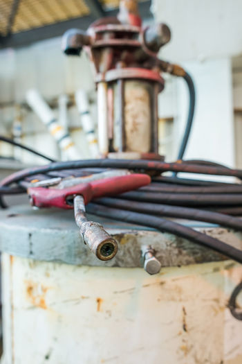 Close-up of welding equipment in factory