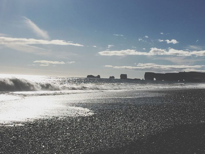 Sea Beach Sky Water Shore Sand Nature Wave Outdoors Iceland Blacksandbeach Black Beachphotography Sand & Sea Beauty In Nature Horizon Over Water Scenics Day Coast Travel Adventure Picoftheday