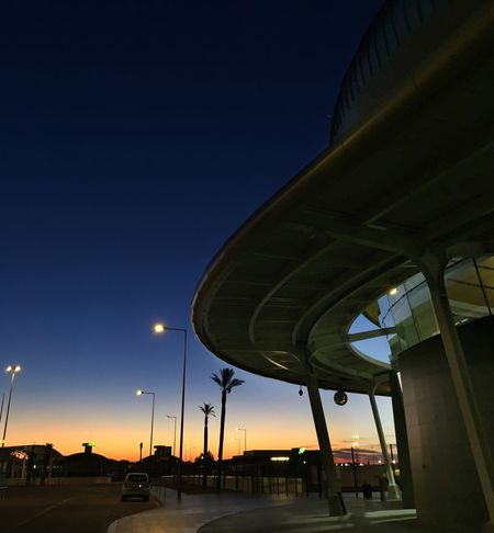 Built Structure Transportation Low Angle View Architecture Sky Clear Sky Night Street Light Outdoors No People Illuminated Airport Portugal Algarve No Edit/no Filter No Filter Dawn The Traveler - 2018 EyeEm Awards