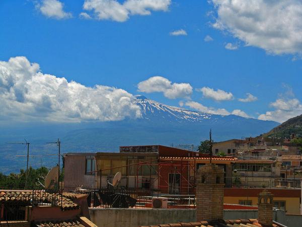 Atmospheric Mood Etna Italy Majestic Sicily Sky Urban Volcanic  Volcano