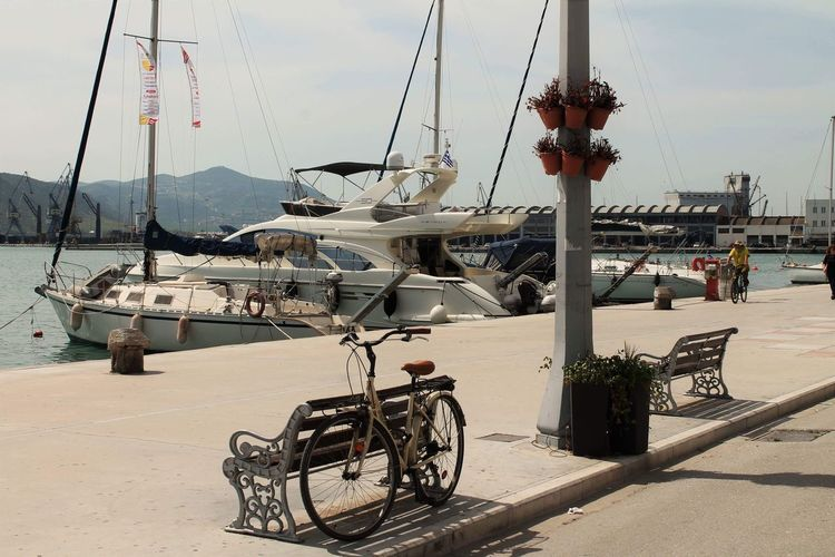 Spring is here Summer Boat Greece Water Sky Transportation Nature Nautical Vessel Day Sea Harbor Bicycle Fishing Industry Sunlight No People Outdoors