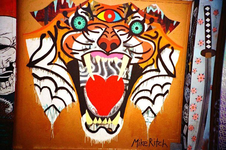 Graffiti Art LCA+ Koduckgirl Multi Colored F2/400 Film Clarion Alley Mural Art Animal Themes