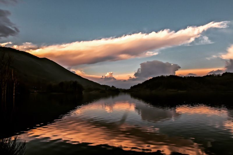Like a painting Water Sky Cloud - Sky Beauty In Nature Scenics - Nature Sunset Reflection Tranquility Tranquil Scene Lake Non-urban Scene Waterfront Mountain Idyllic Nature No People Tree Orange Color Outdoors Plant