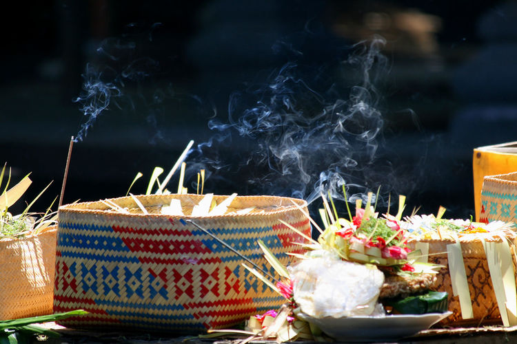 Firework display against blurred background