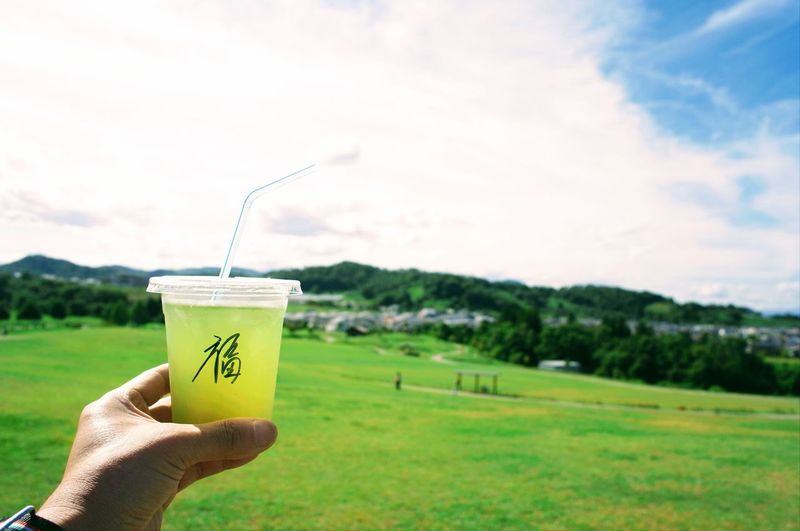 GREEN Fukudamakotophotography フクダマコトフォトグラフィー 日本茶 お茶 Japanesetea Greentea Tree Human Hand Hand One Person Human Body Part Plant Holding Land Green Color Nature Sky Field Focus On Foreground Day Cup Drink Landscape EyeEmNewHere