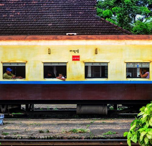 On board passengers of Yangon Circular train Train