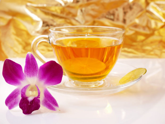 Cup Of Tea Food And Drink Orchid Tea Drinking Glass Water