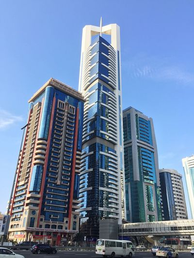 Taking Photos Shaikh Zayed Road Dubai City Architecture Building Exterior Built Structure Low Angle View Modern Skyscraper Clear Sky