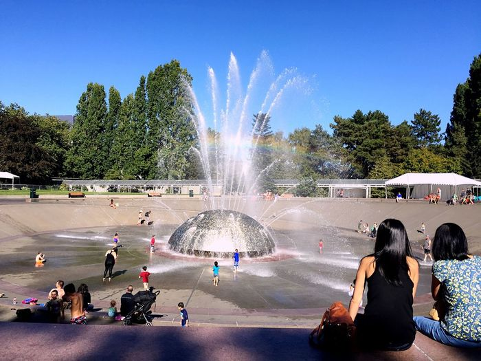 Fountain Spraying Water Park Tree Seattle Memories Large Group Of People