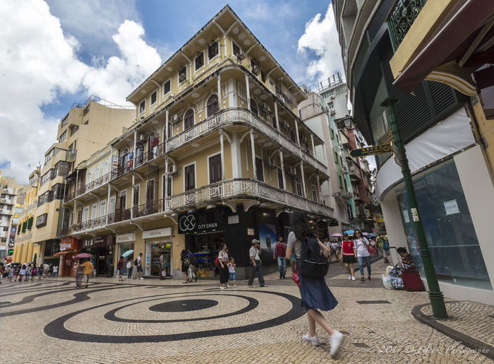 Architecture Building Exterior Built Structure City Cloud - Sky Day Large Group Of People Lifestyles Macau Trip Men Outdoors People Real People Rua Da Palha Sky