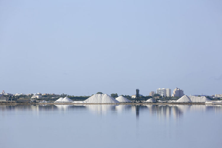Panoramic view of lake by buildings against clear sky