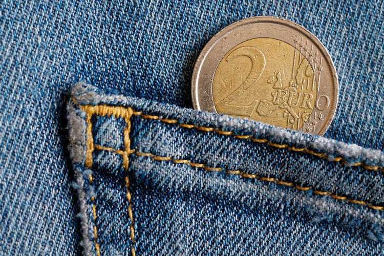 Economy Piggy Bank Backgrounds Blue Casual Clothing Close-up Coin Currency Day Denim Denim Jeans Denimjeans Euro Coin Euro Coins Finance Full Frame Human Body Part Investment Jeans People Pocket  Save Savings Wealth Wealthy