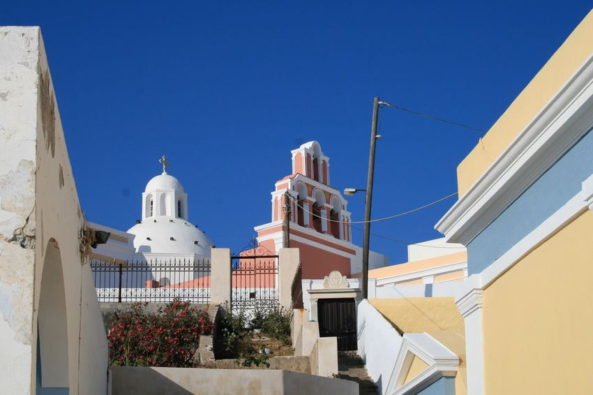 Churches of Santorini 🇬🇷 05 Architecture Building Exterior Built Structure Low Angle View Dome Religion City Clear Sky No People Day Outdoors Place Of Worship Spirituality Whitewashed Sky Santorini, Greece Vacations Canonphotography Canon400d Cultures Nature