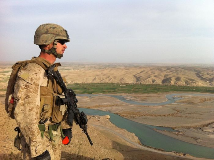 Lost In The Landscape Military Desert Military Uniform Weapon Armed Forces Men Rifle Uniform Outdoors War One Person Real People Day Arid Climate USMC Marine Corps Camouflage Clothing Sky combat engineer