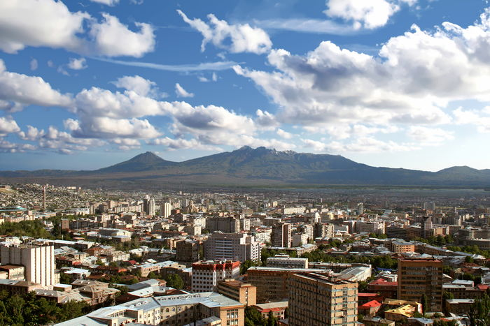 View of Yerevan, Armenia with the twin peaks of Mount Ararat seen in the background Armenia Mount Ararat Architecture Building Exterior Built Structure City Cityscape Cloud - Sky Day High Angle View Mountain Mountain Range Nature No People Outdoors Scenics Sky Yerevan
