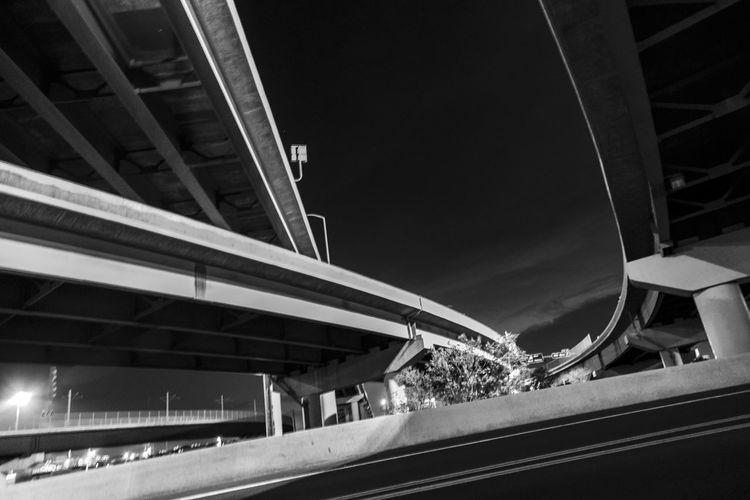 Black And White Bridge Contrast Curiosity Landscape Lines, Shapes And Curves Monochrome Night Photography No People Overcast Overpasses Street Photography Structure Transportation Taken By M. Leith Challenging Photos Pivotal Ideas Art Is Everywhere The Street Photographer - 2017 EyeEm Awards The Architect - 2017 EyeEm Awards