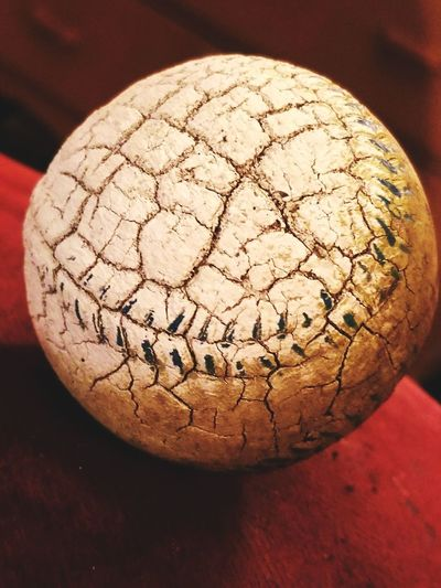 Baseball Old Ball Stitching Still Life Cracked Weathered Well Loved Close-up