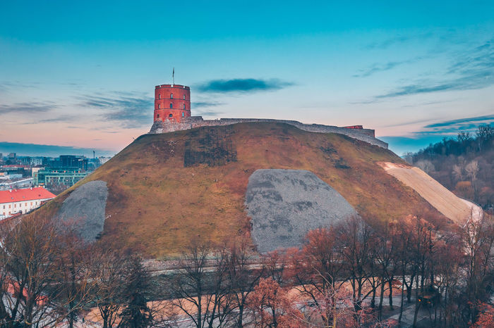Gediminas Tower Capture Tomorrow Drone  Aerial View Aerial Mavic 2 Mavic 2 Pro Europe Lietuva Gediminas Tower Gediminas Castle Architecture Sky Building Exterior Built Structure Tree Nature Plant Building Cloud - Sky History The Past No People Tower Old Factory Travel Destinations Day Bare Tree Outdoors Sunset