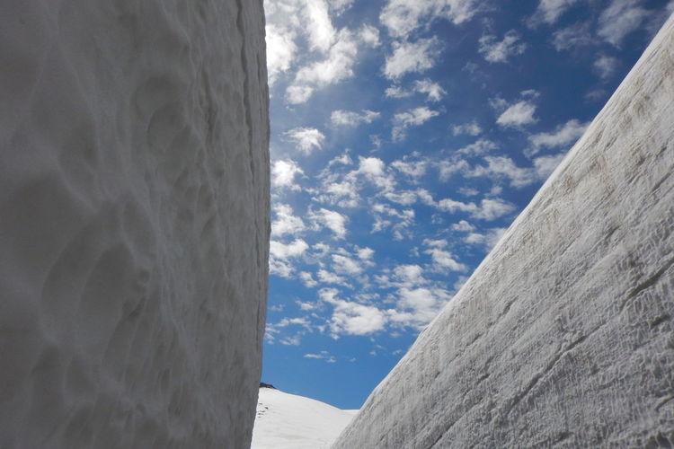 """雪の大谷 """"Yuki-no-otani""""snow wall Height17m Snow Wall Snow Snow Mountain Low Angle View Mountain Tateyama Blue Sky EyeEm Best Shots EyeEm Nature Lover Beautiful Nature Sky Architecture Built Structure Cold Temperature Deep Snow Snowcapped Mountain"""