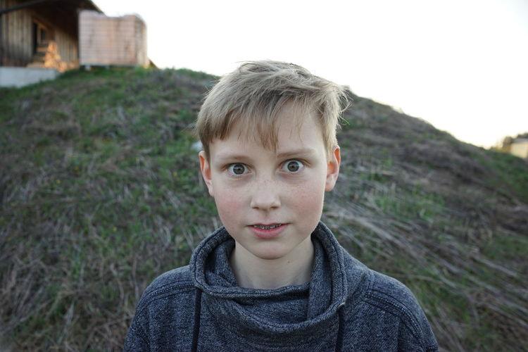 Close-up portrait of young boy