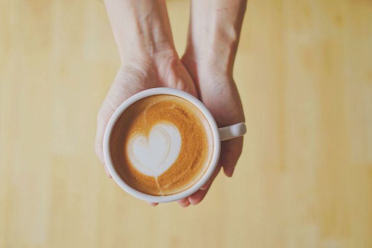 Coffee - Drink Coffee Cup Drink Refreshment Food And Drink Human Hand Frothy Drink Holding Lifestyles Cappuccino Heart Shape Close-up Latteart First Eyeem Photo