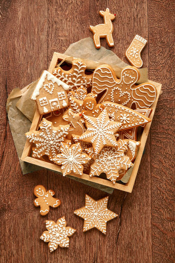 High angle view of cookies in box