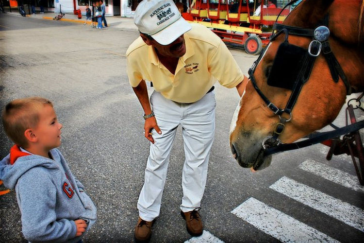 boy meets horse Animal Themes Bonding Children Fascination Focus On Foreground Horse Mackinac Island Meeting Michigan Street Togetherness The Portraitist - 2016 EyeEm Awards The Street Photographer - 2017 EyeEm Awards