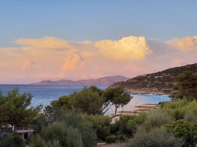 corsica Corsica Tree Water Mountain Sunset Sea Multi Colored Sky Landscape Cloud - Sky Horizon Over Water Idyllic Calm Mountain Range Tranquil Scene