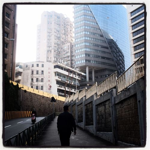 Street Built Structure Architecture Skyscraper Real People Outdoors One Man Only Black & White Macau Streetphotography