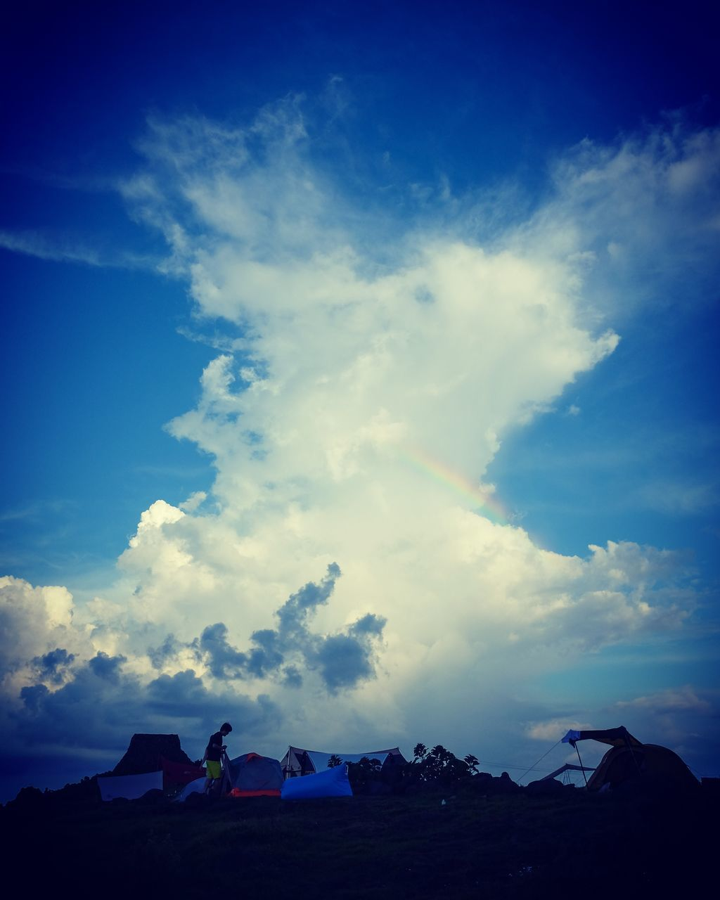 sky, cloud - sky, blue, outdoors, nature, beauty in nature, architecture, day, tent, building exterior, scenics, no people