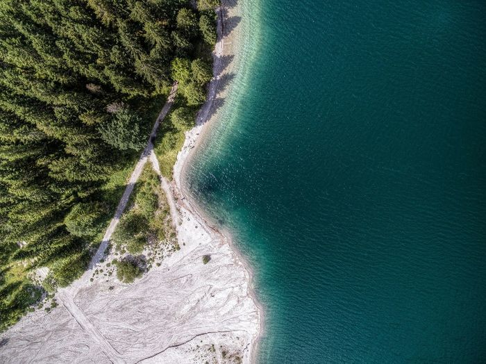 Aerial view of lake plansee in tyrol