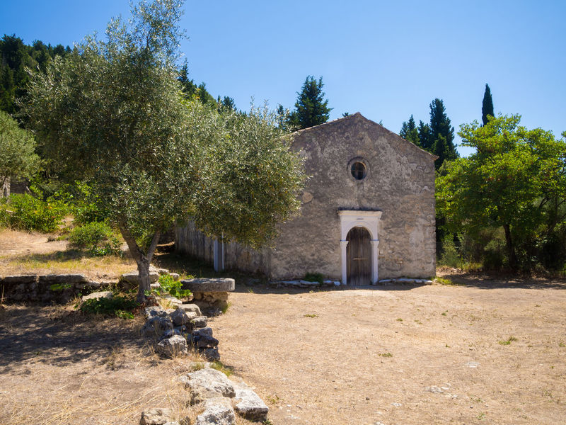 Old monastery on Lefkada, Greece Abandoned Architecture Building Exterior Built Structure Christian Europe Faith Greece Historical Building Lefkada, Greece Mediterranean  Monastery Nature No People Old Olive Tree Orthodox Outdoors Religion Religious Architecture Stone Travel Destinations